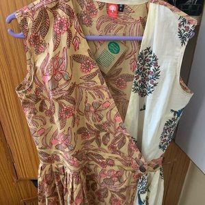 100% organic cotton midi wrap dress